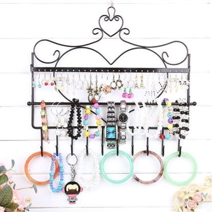 Picture of Heart Themed  Wall Mount Jewelry Organizer Earring Display Rack Holder - HJ101
