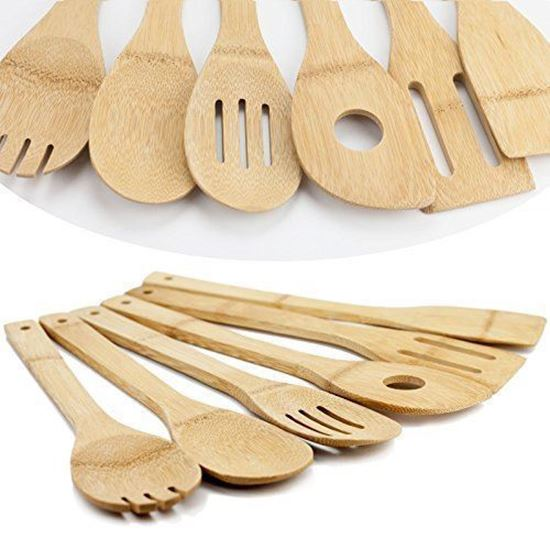Picture Of HUJI Bamboo Wooden Kitchen Cooking Utensils Gadget Set Of 6    HJ094