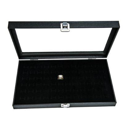 Picture of HUJI Glass Top Ring Display Showcase & 72 Slot Velvet Insert Liner Jewelry Organizer - HJ170