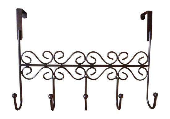 Picture of HUJI Over the Door Decorative 5 Hook Rack Clothes Coat Hat Belt Hanger Organizer - HJ154
