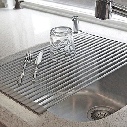 Picture of HUJI Over The Sink Stainless Steel and Roll Up Drying Rack Drainer - HJ1043