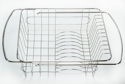 Picture of HUJI Adjustable Stainless Steel Over the Sink Dish Drainer Kitchen Rack (1) - HJ224