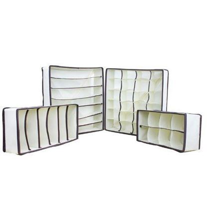 Picture of HUJI Set of 4 Foldable Drawer Dividers, Closet Organizers, Storage Boxes - HJ157