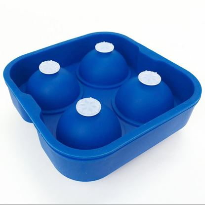 Picture of HUJI Food Grade Silicon Ice Ball Maker Ice Mold Tray (1, BLUE) - HJ1012