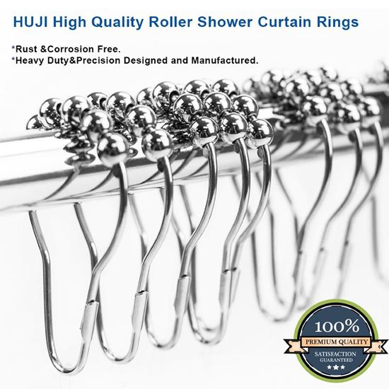 Picture of HUJI Roller Shower Curtain Rings, Polished Chrome SET of 12 (1) - HJ155