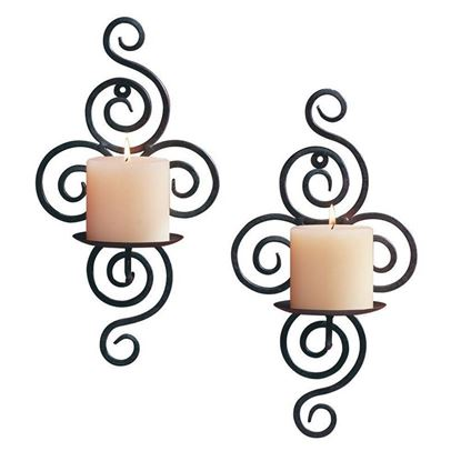 Picture of HUJI Elegant Pair of Iron Decorative Swirling Scroll Design  Candle Holders -HJ313