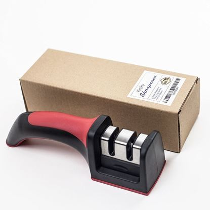 Picture of HUJI Professional Kitchen 2 Stage Knife Sharpener with Soft Grip Safety Handle for Knives - HJ320