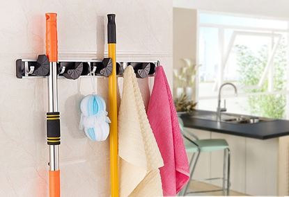 Picture of HUJI Wall Mount Broom Clamp Holder 4 Positions Grip Organizer & 5 Hooks Rack - HJ325