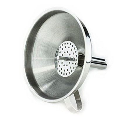 "Picture of HUJI Stainless Steel 5"" Cooking Funnel with Detachable Strainer/ Filter for Kitchen (1, 5 "") - HJ329"