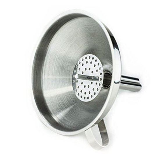 """Picture of HUJI Stainless Steel 5"""" Cooking Funnel with Detachable Strainer/ Filter for Kitchen (1, 5 """") - HJ329"""
