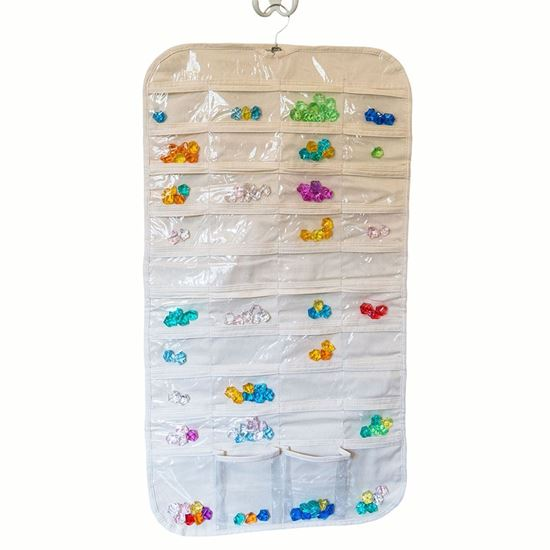 Picture of HUJI 80 Pockets Canvas Dual Sided Hanging Jewelry Organizer Display w/ Hanger for Closet - HJ338