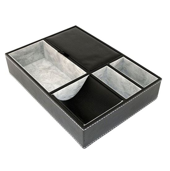 Picture of HUJI Black Leatherette Valet Jewelry Tray Insert Liner Organizer 5 Compartments - HJ354