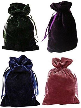"Picture of HUJI Tarot Bags Velvet Bundle of 4: Hunter Green, Navy Blue, Rose and Purple 6"" X 9"" - PM16003"