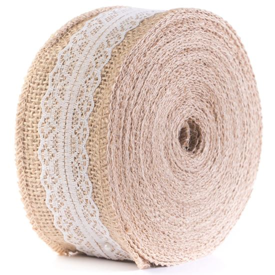 Picture of HUJI Natural Jute Burlap with Lace Ribbon for Arts Crafts Wedding Cake Rustic Decorations - HJ309