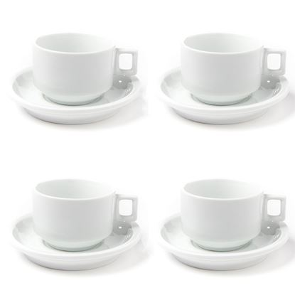 Picture of Porcelain 3.2 oz. Espresso Turkish Coffee Cups and Saucers (4 Cups, 4 Saucers) - HJ142CS_1PK