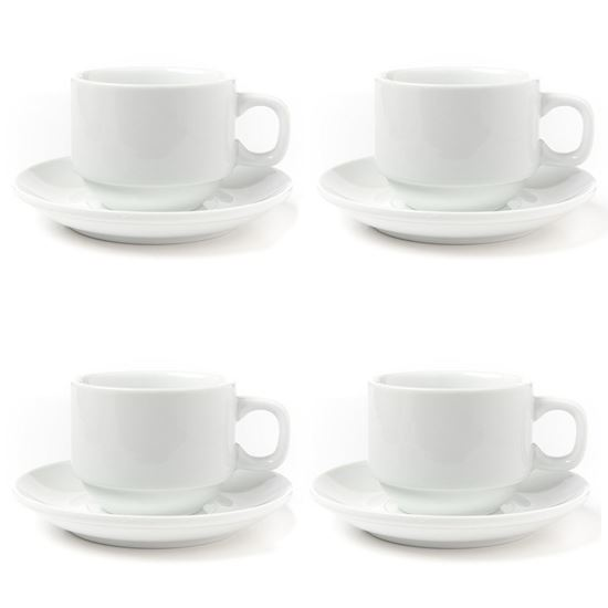 Picture of Huji Porcelain 4 oz. Espresso Turkish Coffee Cups and Saucers (4 Cups, 4 Saucers) - HJ318CS_1PK
