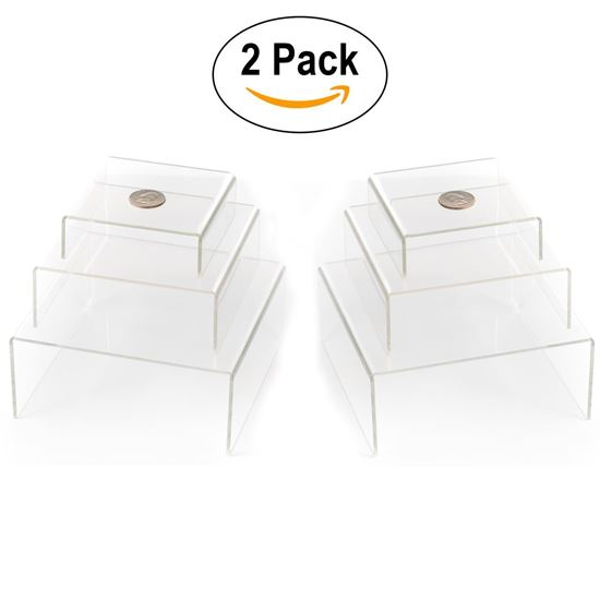 Picture of Clear Medium Low Profile Set of 6 Acrylic Risers Display Stands (2 Sets of 3, Clear Acrylic Risers) - HJ373_2PK