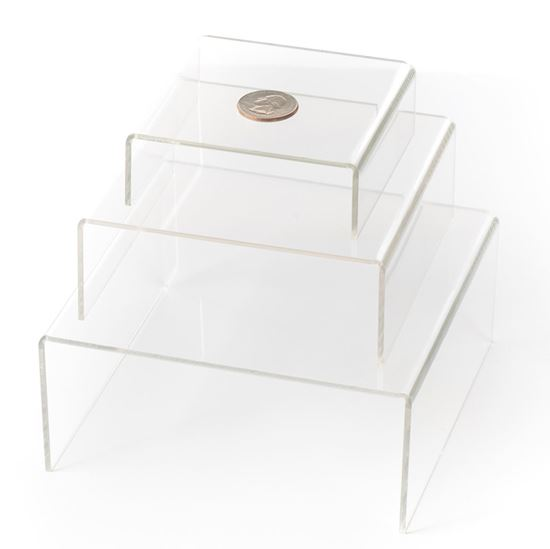 Picture of Clear Medium Low Profile Set of 3 Acrylic Risers Display Stands (1 Set, Clear Acrylic Risers) - HJ373_1PK