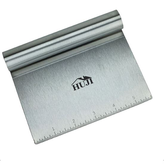 Picture of HUJI Stainless Steel Mirror Polished Dough Cutter Scraper Chopper Kitchen Tool - HJ215