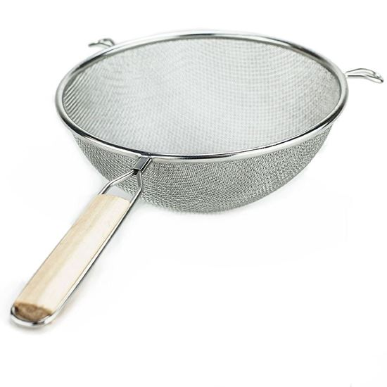 """Picture of Huji Stainless Steel Fine 8"""" Double Mesh Strainer Colander Sifter w/ Wooden Handle - HJ146"""