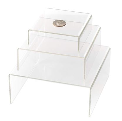 Picture of Clear Medium Low Profile Set of 3 Acrylic Risers Display Stands - HJ335_1PK