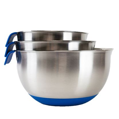 Picture of HUJI 3 Piece Stainless Steel Mixing Bowls Set w/ Pouring Spouts & Non-Slip Silicon Base (Blue) - HJ307BL