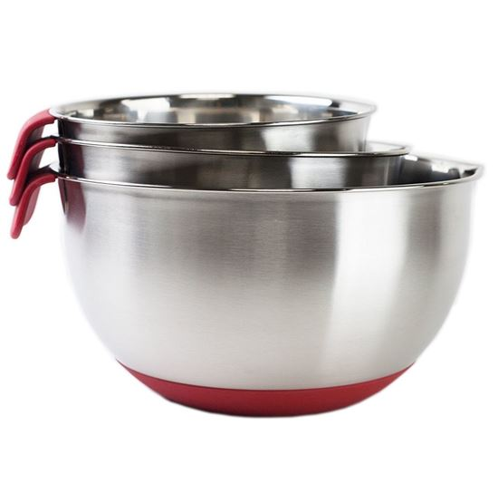 Picture of HUJI 3 Piece Stainless Steel Mixing Bowls Set with Pouring Spouts & Non-Slip Silicon Base (Red) - HJ307R