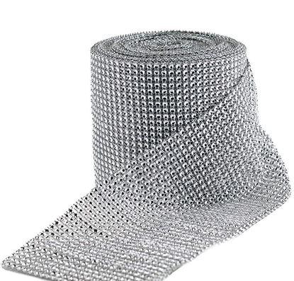 Picture of HUJI Diamond Silver Rhinestone Mesh Ribbon Wrap for Wedding Decorations - HJ323