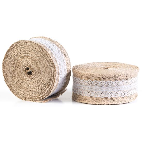 Picture of HUJI Natural Jute Burlap with Lace Ribbon for Arts Crafts  (20 yds) - HJ309_2PK