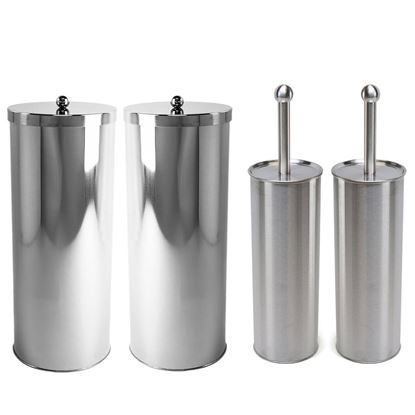 Picture of Stainless Steel 2 Toilet Paper Canisters and 2 Toilet Brush Case Holders Set (1, Set of 4) - HJ369_2PK