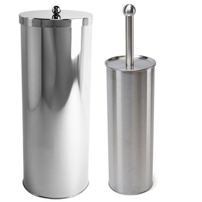 Picture of Stainless Steel Toilet Paper Canister and Toilet Brush Case Holder Set - HJ369