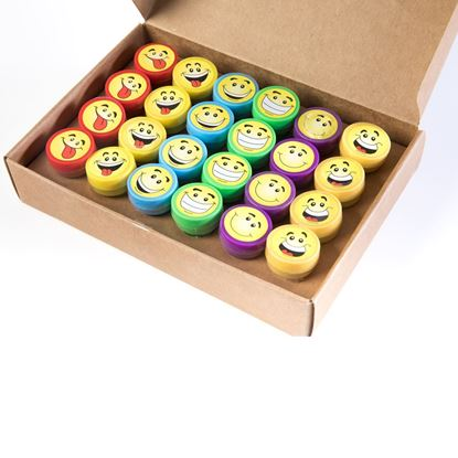 Picture of HUJI Emoji Smiley Face Stamps 24 Pieces Birthday Accessories - HJ368