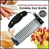 "Picture of HUJI Black Handled Stainless Steel Crinkle Cut Knife 7 1/2"" Length - HJ019"