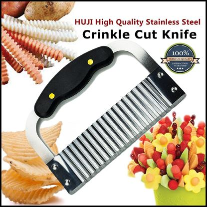 "Picture of HUJI Black Handled Stainless Steel Crinkle Cut Knife 7 1/2"" Length - HJ019"