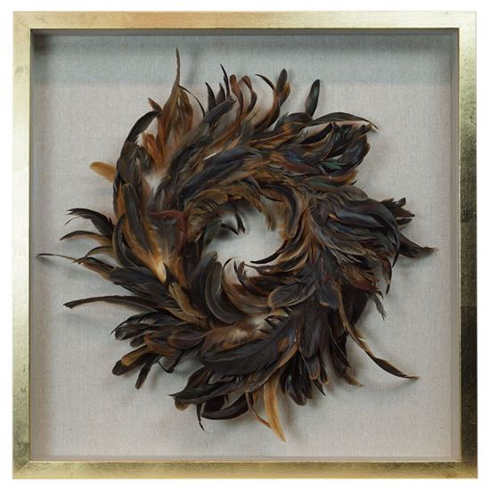 """Picture of Feather Nest Shadow Box Wall Décor (MS36541A) 23.62"""" L x 23.62"""" H"""