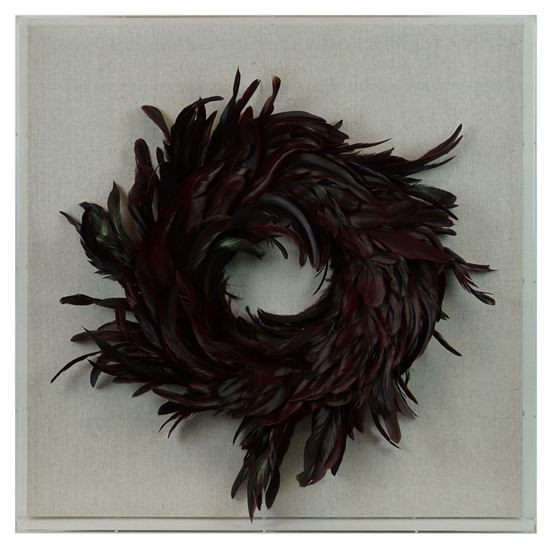 """Picture of Feather Wreath Shadow Box (MS36540C) 23.62"""" L x 23.62"""" H"""