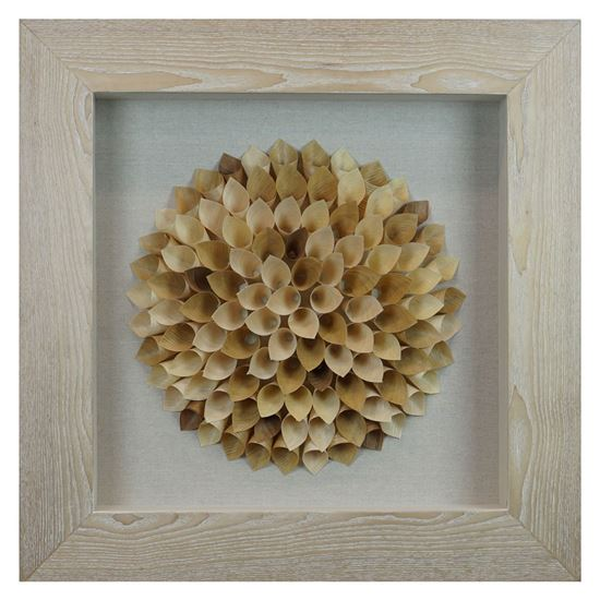 """Picture of Wood Shaving Bouquet Shadow Box Wall Décor (MS22688B) 23.62"""" L x 23.62"""" H"""