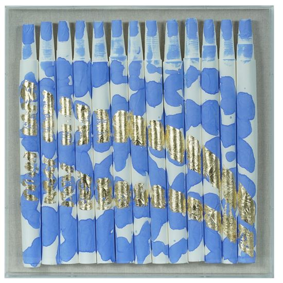 """Picture of Color Splash on Xuan Paper Shadow Box Wall Décor (Blue) (MS55125A) 19.69"""" L x 19.69"""" H"""