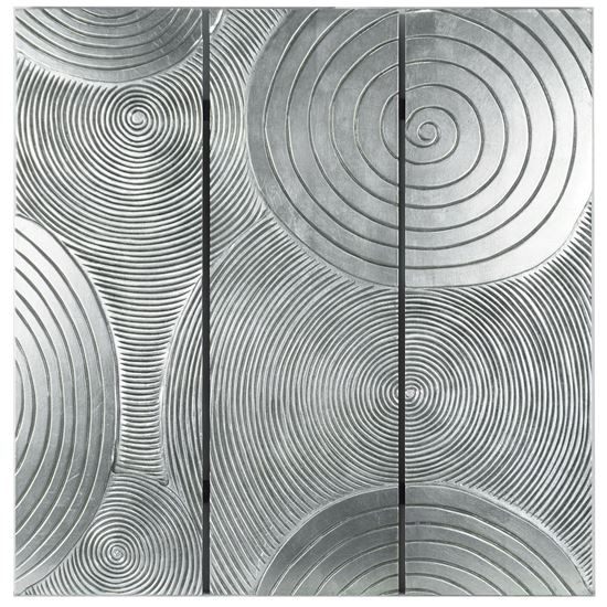 """Picture of Abstract Silver Pine Wood Plaque Wall Décor  (MS18894) 35.43"""" x 35.43"""""""