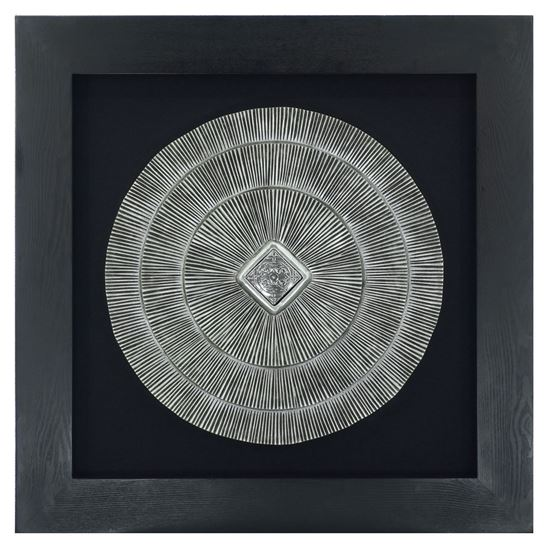 """Picture of Abstract Silver Medallion Shadow Box Wall Décor  (MS18925A) 35.43"""" x 35.43"""""""