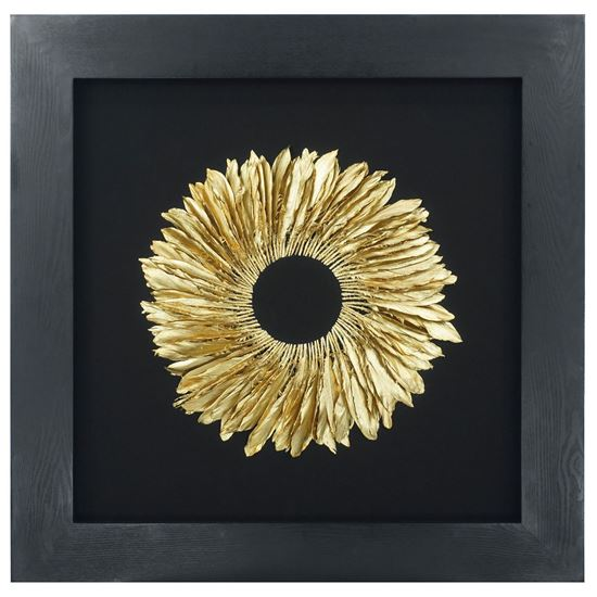 """Picture of Golden Feather Wreath Shadow Box Wall Décor (MS30039) 35.43"""" x 35.43"""""""