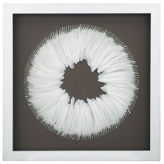 """Picture of White Feather Wreath Shadow Box Wall Décor  (MS39206) 31.50"""" x 31.50"""""""