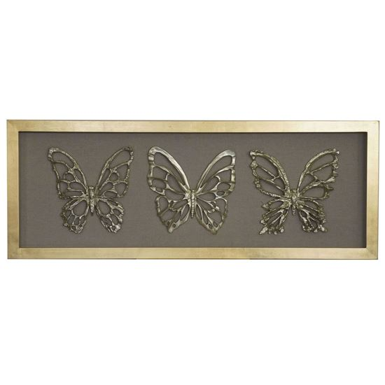 """Picture of Wood Carving Butterfly Trio Shadow Box Wall Décor  (MS45758) 23.62"""" x 62.99"""""""