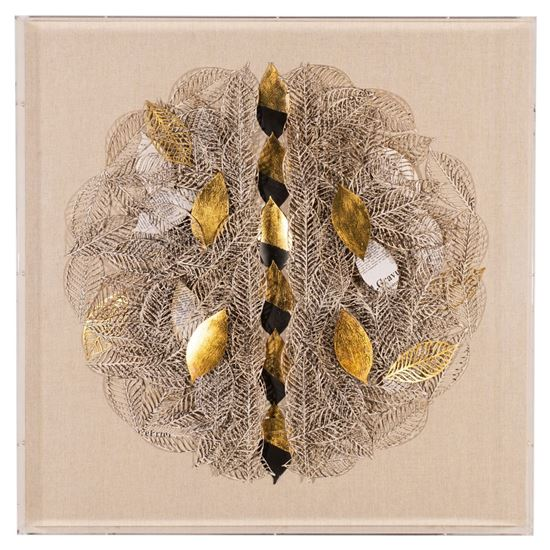 """Picture of Leaf Pile Acrylic Shadow Box Wall Décor (MS55440) 23.62"""" x 23.62"""""""